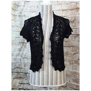 RELATIVITY Black Crochet knit open-front Cardigan